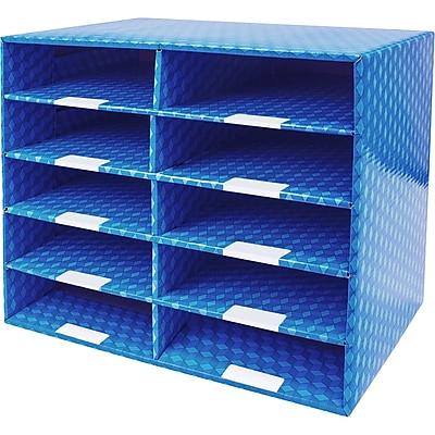 Storex 10 Compartment Laminated Corrugated Mailroom Sorter, 12.5