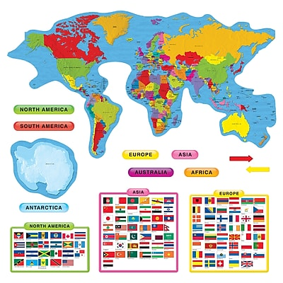 Continents & Countries Bulletin Board Set, 27 pieces