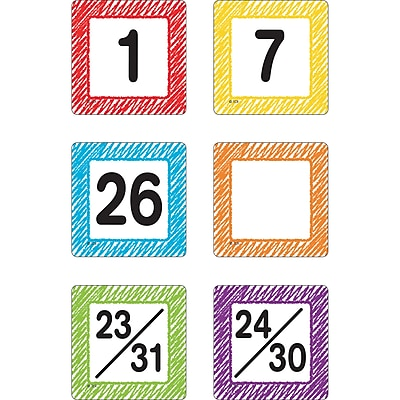 Teacher Created Resources Scribble Calendar Days, 36/Pack (TCR3426)