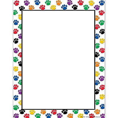 Teacher Created Resources Computer Paper, Colorful Paw Prints, 11