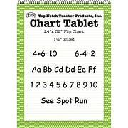 "Top Notch Teacher Products Chart Tablet, 1.5"" Ruled Flip Chart, 24"" x 32"", Green Polka Dot, 25 Sheets (TOP3848)"