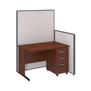 Bush Business Furniture 48W C-Leg Desk and 3 Drawer Mobile Pedestal with ProPanels, Light Gray (PPC024LG)