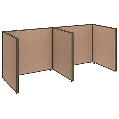 Bush Business Furniture ProPanels 96W x 36D x 42H 2 Person Open Cubicle Configuration, Harvest Tan (PPC011HT)