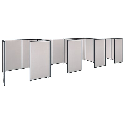 Bush Business Furniture ProPanels 288W x 72D x 66H 4 Person Closed Cubicle Configuration, Light Gray (PPC009LG)