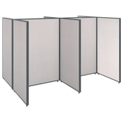Bush Business Furniture ProPanels 96W x 72D x 66H 4 Person Open Cubicle Configuration, Light Gray (PPC004LG)