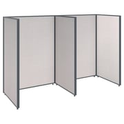Bush Business Furniture ProPanels 96W x 36D x 66H 2 Person Open Cubicle Configuration, Light Gray (PPC002LG)