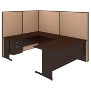 Bush Business Furniture 72W C-Leg U-Station with 3/4 Pedestal and ProPanels, Harvest Tan (PPC021HT)