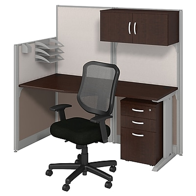 Bush Business Furniture Office in an Hour 65W x 33D Cubicle Workstation with Storage and Chair, Installed, Mocha Cherry