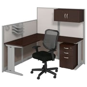 "Bush Business Furniture Office in an Hour 65""W x 65""D L Shaped Cubicle Workstation with Chair, Mocha Cherry (WC36894-03SC)"