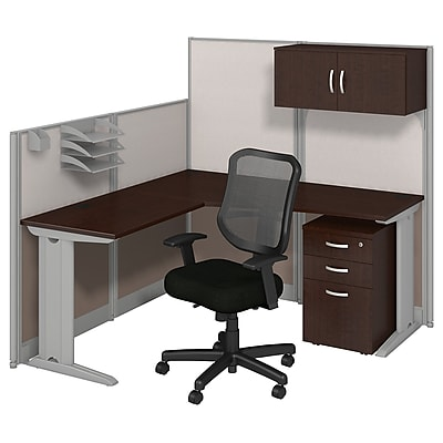 Bush Business Furniture Office in an Hour 65W x 65D L Shaped Cubicle Workstation with Storage and Chair, Mocha Cherry, Installed