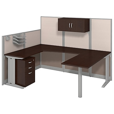 Bush Business Furniture Office in an Hour 89W x 65D U Shaped Cubicle Workstation with Storage, Mocha Cherry (WC36896-03STGK)