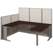 "Bush Business Furniture Office in an Hour 89""W x 65""D U Shaped Cubicle Workstation, Mocha Cherry (WC36896-03K)"