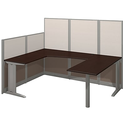Bush Business Furniture Office in an Hour 89W x 65D U Shaped Cubicle Workstation, Mocha Cherry, Installed (WC36896-03KFA)