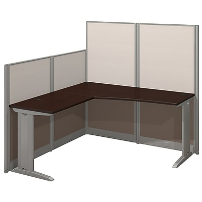 Bush Business Furniture Office in an Hour 65W x 65D L Shaped Cubicle Workstation, Mocha Cherry (WC36894-03K)