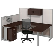 "Bush Business Furniture Office in an Hour 89""W x 65""D U Shaped Cubicle Workstation with Chair, Mocha Cherry (WC36896-03SC)"