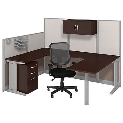 Bush Business Furniture Office in an Hour 89W x 65D U Shaped Cubicle Workstation with Storage and Chair, Mocha Cherry