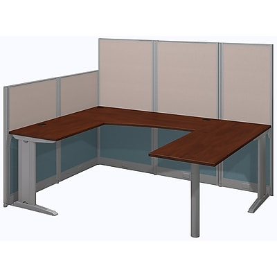 Bush Business Furniture Office in an Hour 89W x 65D U Shaped Cubicle Workstation - Installed, Hansen Cherry (WC36496-03KFA)