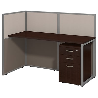 Bush Business Furniture Easy Office 60W Straight Desk Open Office w/ 3 Dwr Mobile Ped- Installed, Mocha Cherry (EOD160SMR-03KFA)