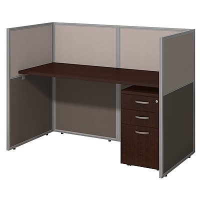 Bush Business Furniture Easy Office 60W Straight Desk Closed Office with 3 Drawer Mobile Pedestal, Mocha Cherry (EOD260SMR-03K)