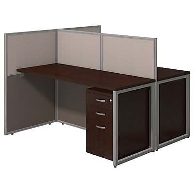 Bush Business Furniture Easy Office 60W 2 Person Str Desk Open Office w/ Two 3 Dwr Mobile Peds, Mocha Cherry (EOD460SMR-03KFA)