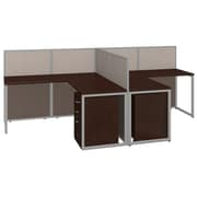 Bush Business Furniture Easy Office 60W 2Person LShaped Desk Open Office w/ Two 3 Dwr Mobile Peds, Mocha Cherry (EOD560SMR-03K)