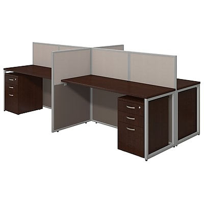 Bush Business Furniture Easy Office 60W 4 Person Straight Desk Open Office w/ 3 Dwr Mobile Peds, Mocha Cherry (EOD660SMR-03KFA)