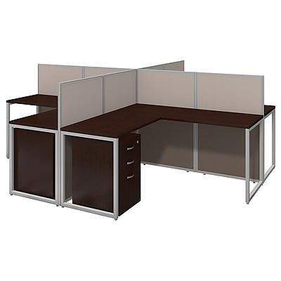 Bush Business Furniture Easy Office 60W 4 Person L Shaped Desk Open Office w/ 3 Dwr Mobile Peds, Mocha Cherry (EOD760SMR-03KFA)