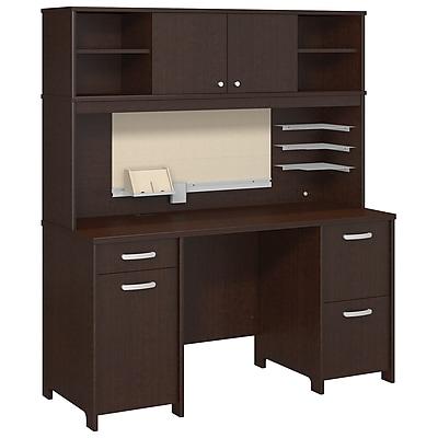 Bush Business Furniture Envoy Double Pedestal Desk and Hutch, Mocha Cherry (ENV006MR)