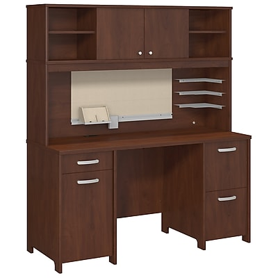 Bush Business Furniture Envoy Double Pedestal Desk and Hutch, Hansen Cherry (ENV006HC)