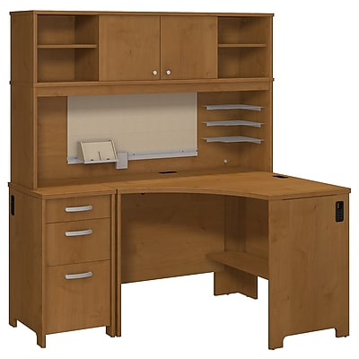 Bush Business Furniture Envoy Corner Desk, Hutch and 3 Dwr Pedestal, Natural Cherry (ENV005NC)
