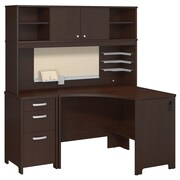 Bush Business Furniture Envoy Corner Desk, Hutch and 3 Dwr Pedestal, Mocha Cherry (ENV005MR)