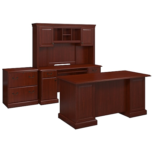 best website fe977 fac29 kathy ireland® Home by Bush Furniture Bennington Manager's Desk, Credenza  with Hutch and Lateral File, Harvest Cherry (BNT001CS)