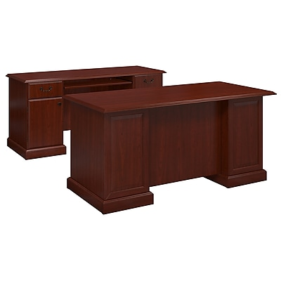 kathy ireland® Office by Bush Business Furniture Bennington Manager's Desk and Credenza, Harvest Cherry (BNT006CS)