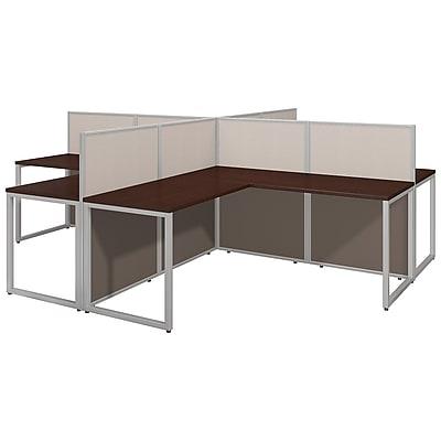 Bush Business Furniture Easy Office 60W 4 Person L Desk Open Office, Mocha Cherry(EOD760MR-03K)