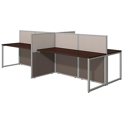 Bush Business Furniture Easy Office 60W 4 Person Straight Desk Open Office, Mocha Cherry(EOD660MR-03KFA)