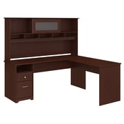 Bush Furniture Cabot 72W L Shaped Computer Desk with Hutch and Drawers, Harvest Cherry (CAB053HVC)