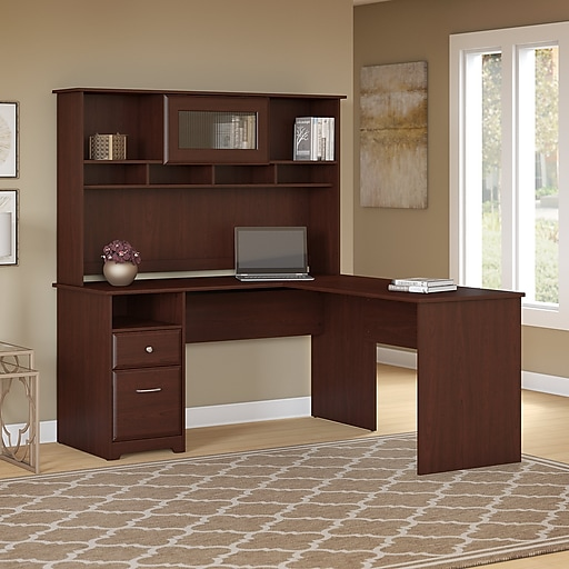 Bush Furniture Cabot 60w L Shaped Computer Desk With Hutch And Drawers Harvest Cherry Cab046hvc