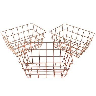 Cathay Importers - Panier en fil de cuivre rectangulaire, petit, paq./3