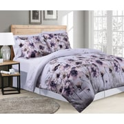 Marina Decoration Goose Down Alternative Bed in a Bag Comforter Set, Lotus Pattern, Purple and White