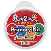 Ready2Learn Jumbo Circular Washable Stamp Pad, 6 Inch, Primary Kit (CE-6616)