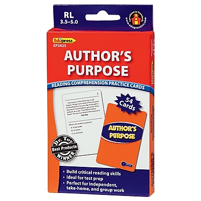 Author's Purpose Reading Comprehension Practice Cards, Blue Level (RL 3.5-5.0)