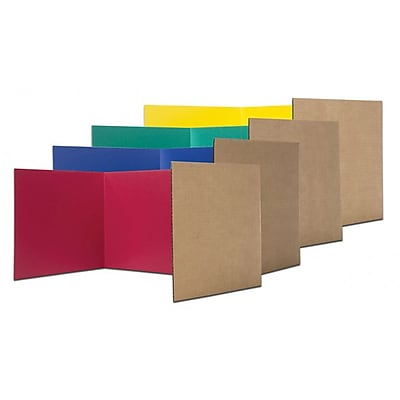 Flipside® Corrugated Study Carrel, Assorted, 24/Pack