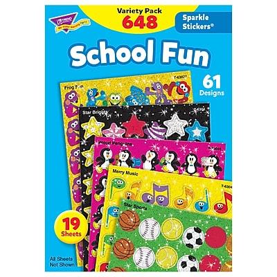Trend Enterprises® Sparkle Stickers, School Fun Variety Pack, 648/PK, 2 PK/BD