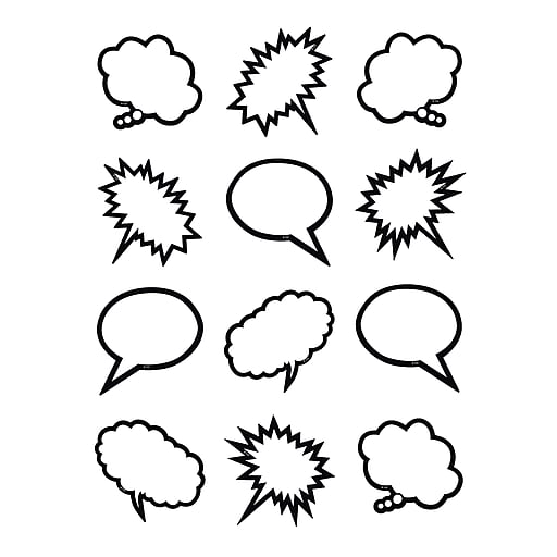 Teacher Created Resources Superhero Black & White Speech/Thought Bubbles Mini Accents, 36/Pack (TCR5641)