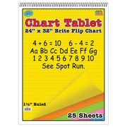"Top Notch Teacher Products Chart Tablet, 1.5"" Ruled Brite Flip Chart, 24"" x 32"", Assorted Colors, 25 Sheets (TOP3820)"