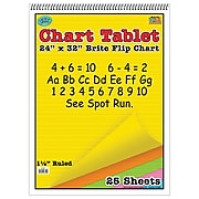 """Top Notch Teacher Products Chart Tablet, 1.5"""" Ruled Brite Flip Chart, 24"""" x 32"""", Assorted Colors, 25 Sheets (TOP3820)"""
