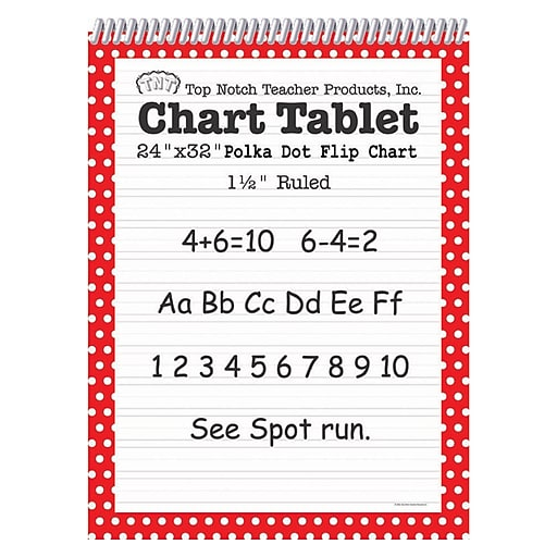 """Top Notch Teacher Products Chart Tablet, 24"""" x 32"""", 1.5"""" Ruled Writing Paper, Red Polka Dot, 25 Sheets (TOP3847)"""
