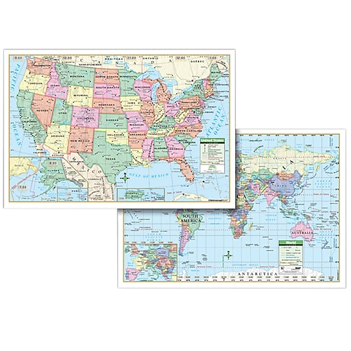 Kappa Map Group Universal Maps Us World Politcal Rolled Map Set - Staples-us-map
