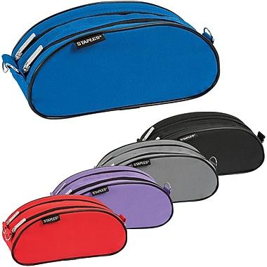 Staples® Nylon Dual Zipper Oblong Pouch, Assorted Colours