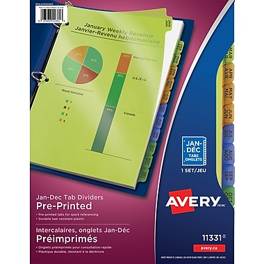Avery® Durable Preprinted Plastic Dividers, Jan-Dec, Multi-colour, (11331)